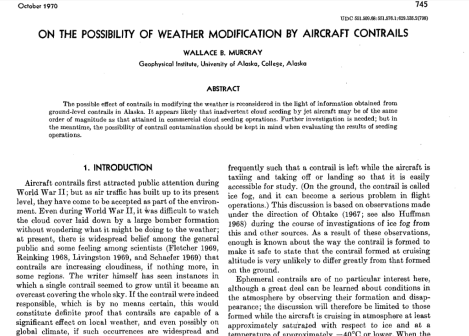 1970 On the Possibility of Weather mod with CONTRAILS