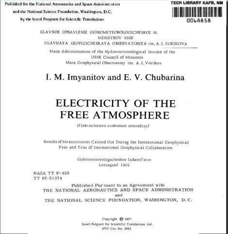 Electricity of the Free atmosphere 1968