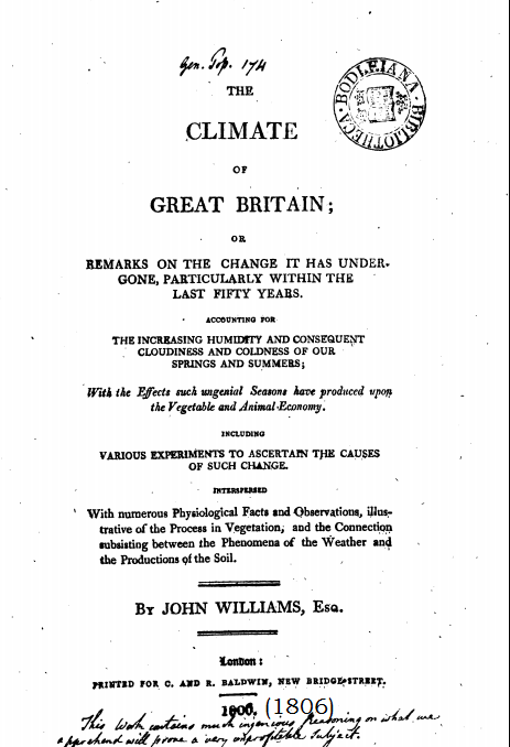 The climate change of Great Britain 1806