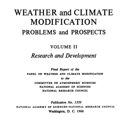 weather and climate modification problems and progress vol II 1966